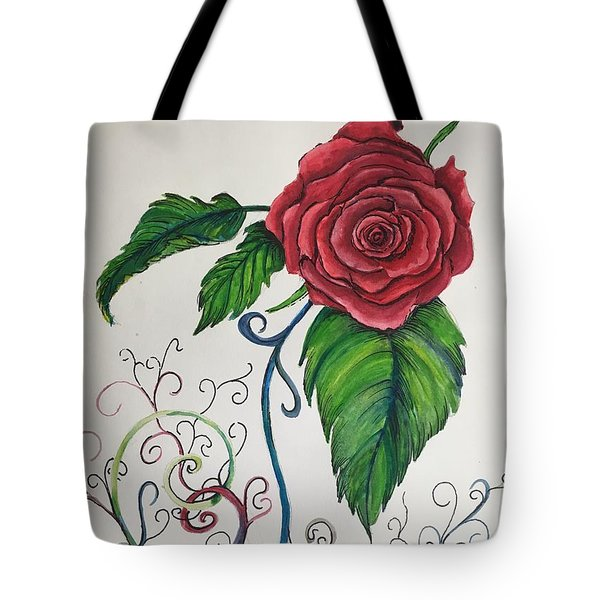 Whimsical Red Rose Tote Bag