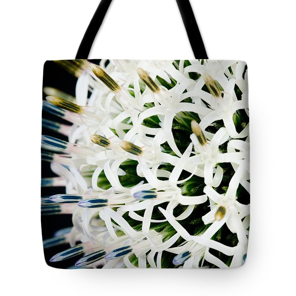 White Alium Onion Flower Tote Bag by Colin Rayner