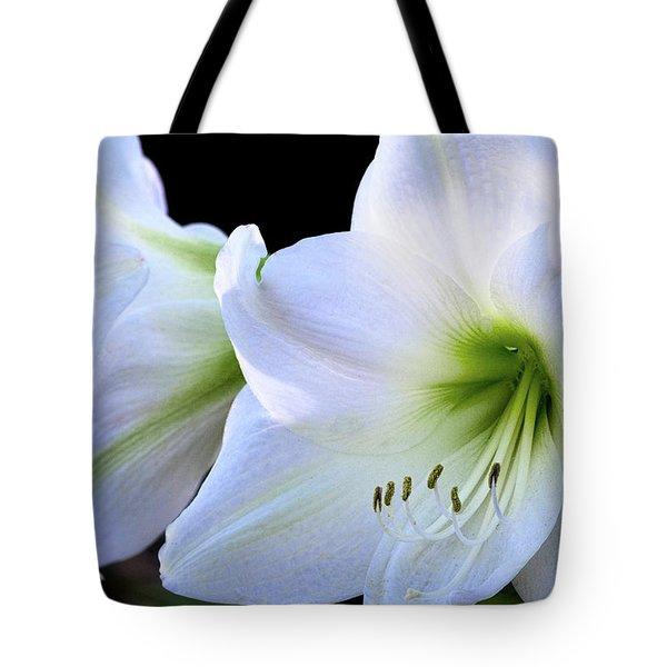 Tote Bag featuring the photograph White Amaryllis  by Saija Lehtonen