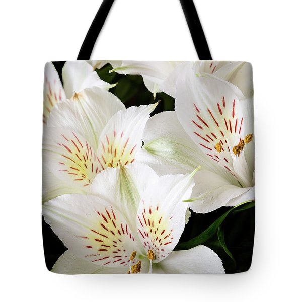 Tote Bag featuring the photograph White Peruvian Lilies In Bloom by Richard J Thompson