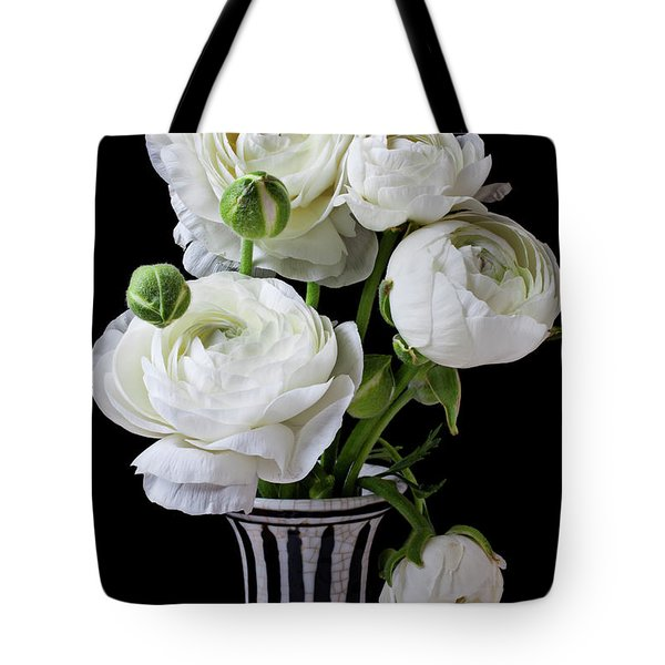 White Ranunculus In Black And White Vase Tote Bag