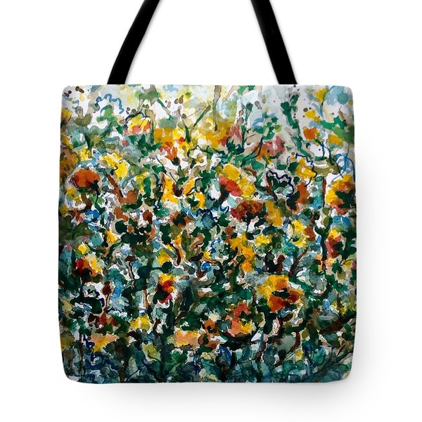 Tote Bag featuring the painting Wild Flowers#3 by Laila Awad Jamaleldin