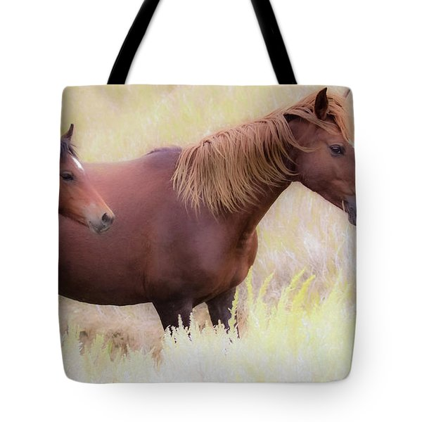 Tote Bag featuring the photograph Wild Horses  by Kelly Marquardt