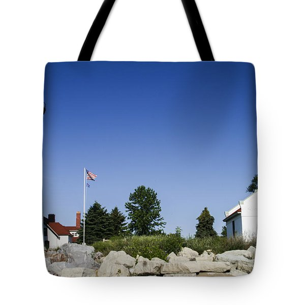 Tote Bag featuring the photograph Wind Point Lighthouse  by Ricky L Jones