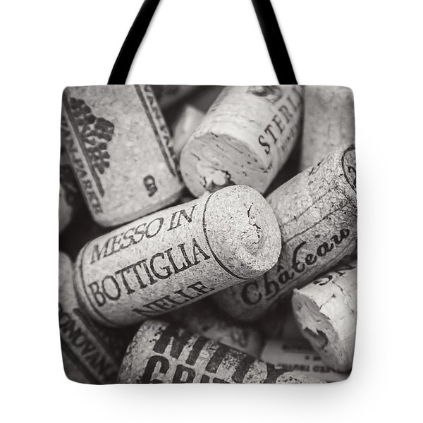 Tote Bag featuring the photograph Wine Corks Black And White by April Reppucci