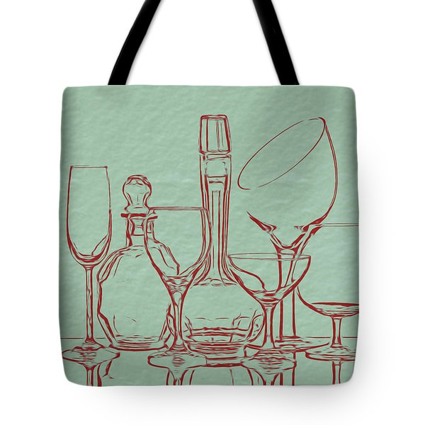 Wine Decanters With Glasses Tote Bag