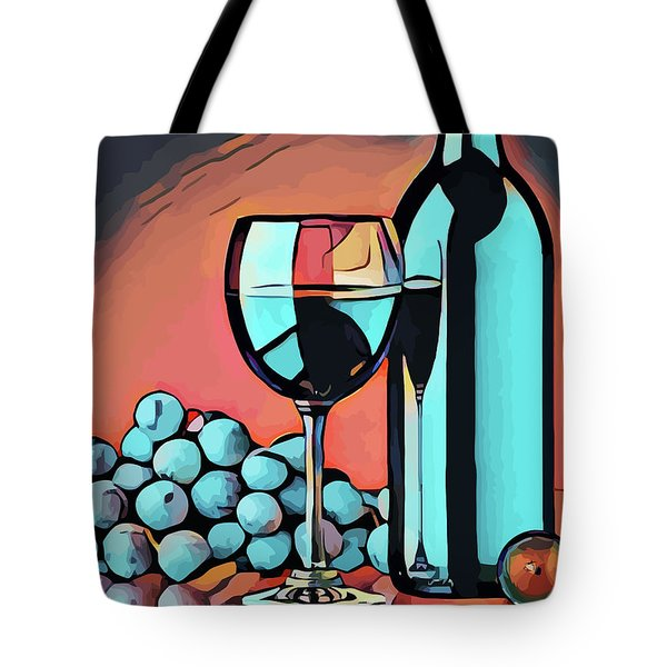 Wine Glass Bottle And Grapes Abstract Pop Art Tote Bag