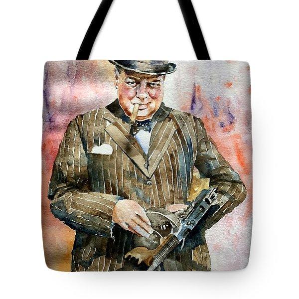 Winston Churchill Portrait Tote Bag