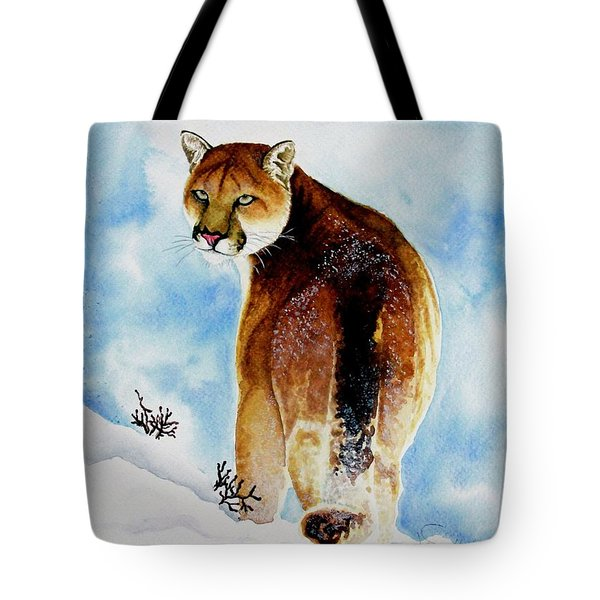Winter Cougar Tote Bag by Jimmy Smith
