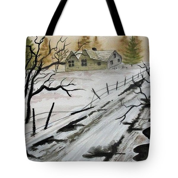 Winter Farmhouse Tote Bag by Jimmy Smith