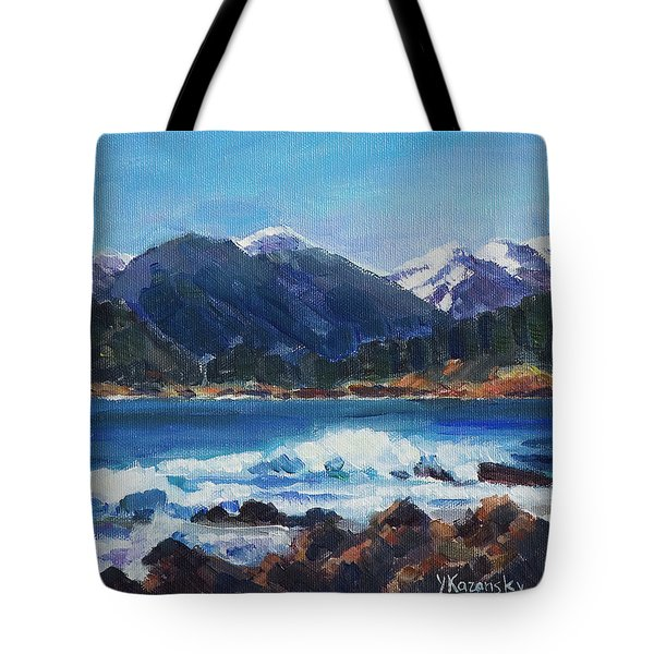 Tote Bag featuring the painting Winter Mountains Alaska by Yulia Kazansky
