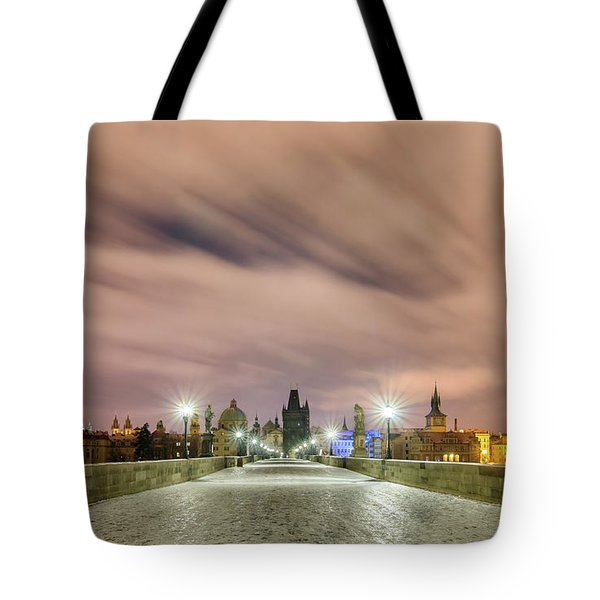 Winter Night At Charles Bridge, Prague, Czech Republic Tote Bag