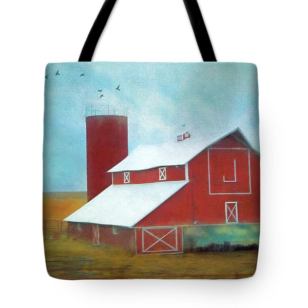 Winter Red Barn Tote Bag