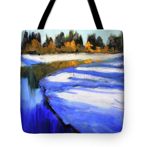 Tote Bag featuring the painting Winter River by Nancy Merkle