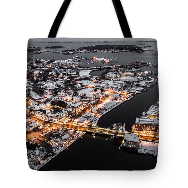 Winter Twilight In Mystic Connecticut Tote Bag by Petr Hejl