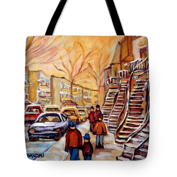 Winter Walk In Montreal Tote Bag by Carole Spandau