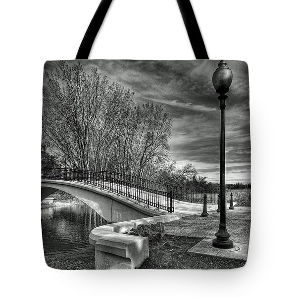Tote Bag featuring the photograph Winter's Bridge by Rodney Campbell