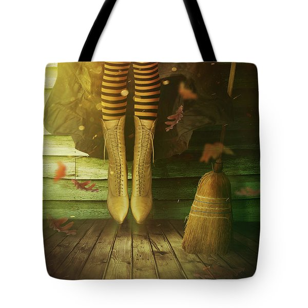 Witch's Legs With Broom Tote Bag