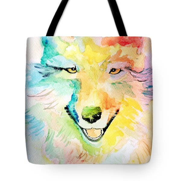Tote Bag featuring the painting Wolfie by Denise Tomasura