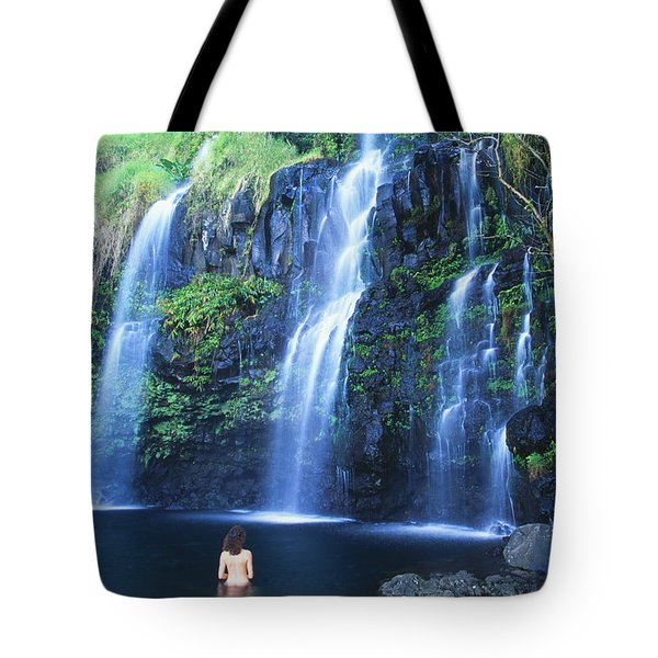 Woman At Waterfall Tote Bag by Dave Fleetham - Printscapes