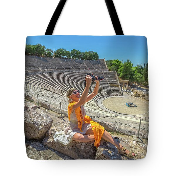Tote Bag featuring the pyrography Woman Photographer Selfie by Benny Marty