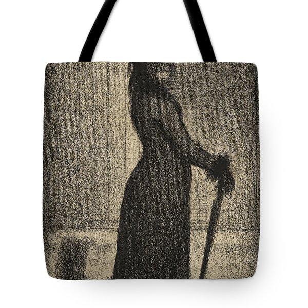 Woman Strolling Tote Bag
