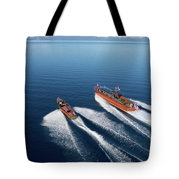Wooden Boat Aerial Tote Bag by Steven Lapkin
