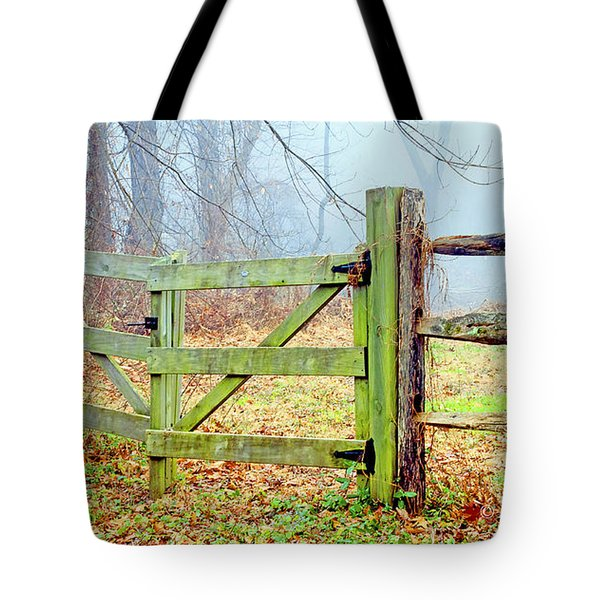 Wooden Fence On A Foggy Morning Tote Bag