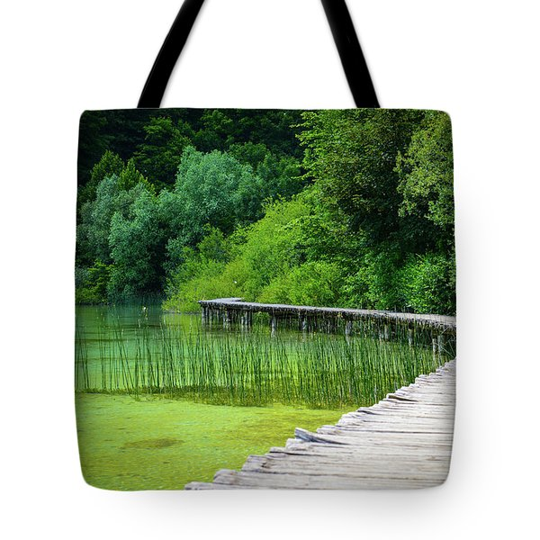 Wooden Path In The Forest Tote Bag