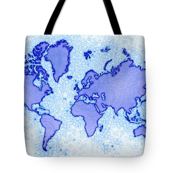 World Map Airy In Blue And White Tote Bag by Eleven Corners