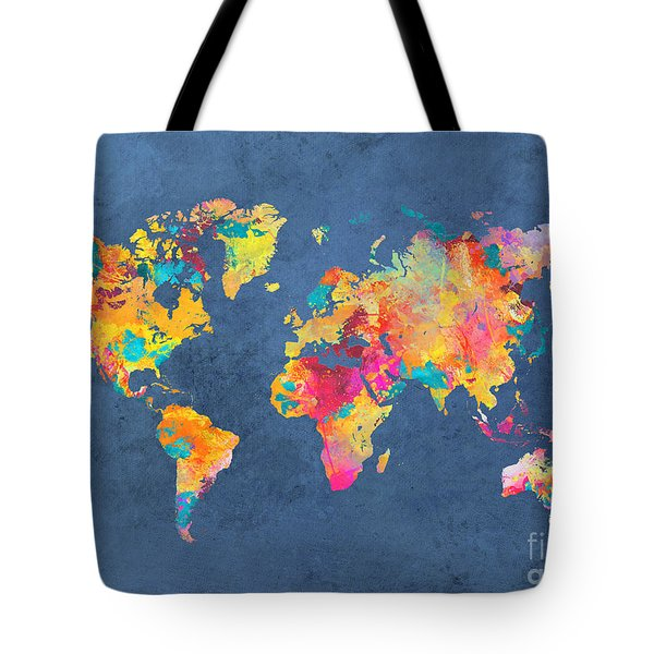 World Map Blue Art Tote Bag by Justyna JBJart