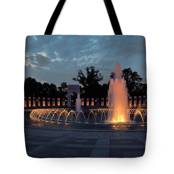 World War II Memorial Fountain Tote Bag