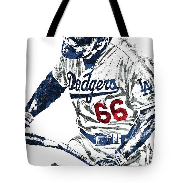 Yasiel Puig Los Angeles Dodgers Pixel Art Tote Bag