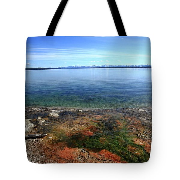 Tote Bag featuring the photograph Yellowstone Lake Colors by Frank Romeo