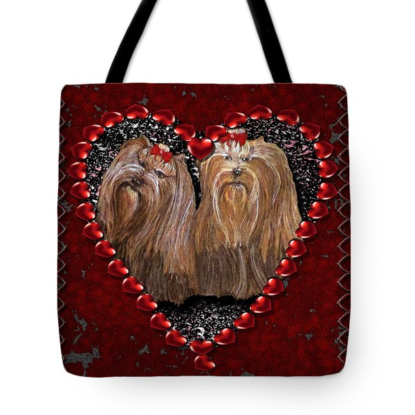 Tote Bag featuring the digital art Yorkie Heart by Michelle Audas