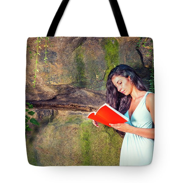 Young American Woman Reading Book At Central Park, New York, In  Tote Bag
