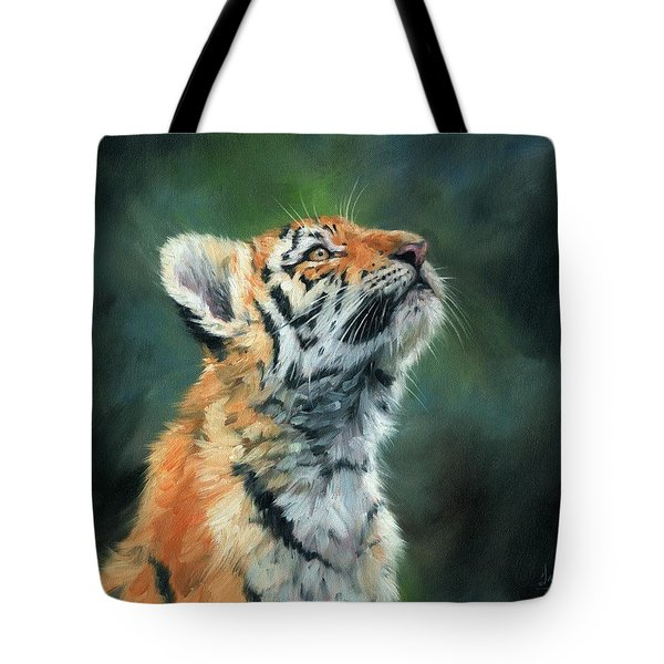 Tote Bag featuring the painting Young Amur Tiger by David Stribbling