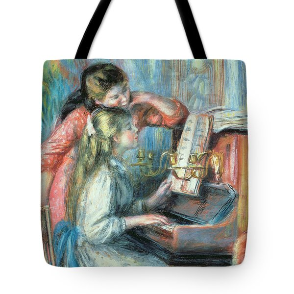 Young Girls At The Piano Tote Bag by Pierre Auguste Renoir