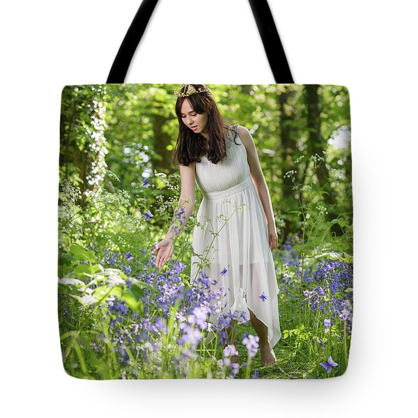 Young Woman In Bluebell Woodland Tote Bag