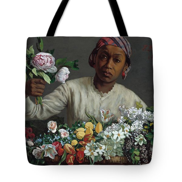 Young Woman With Peonies Tote Bag