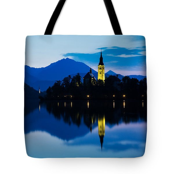 Tote Bag featuring the photograph Dawn Breaks Over Lake Bled by Ian Middleton