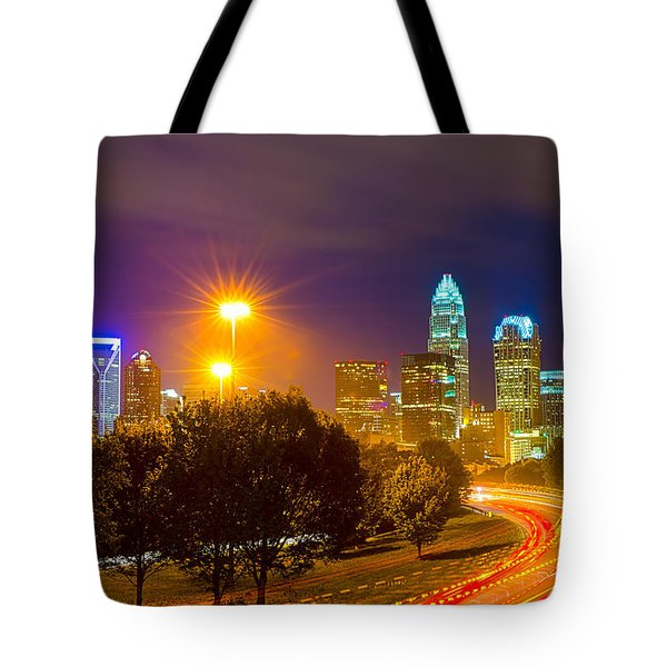 Downtown Of Charlotte  North Carolina Skyline Tote Bag by Alex Grichenko