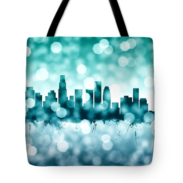 Los Angeles California Skyline Tote Bag by Michael Tompsett