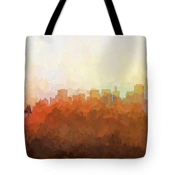 Tote Bag featuring the digital art San Francisco California Skyline by Marlene Watson