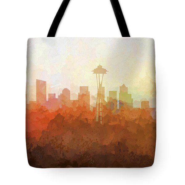 Tote Bag featuring the digital art Seattle Washington Skyline by Marlene Watson