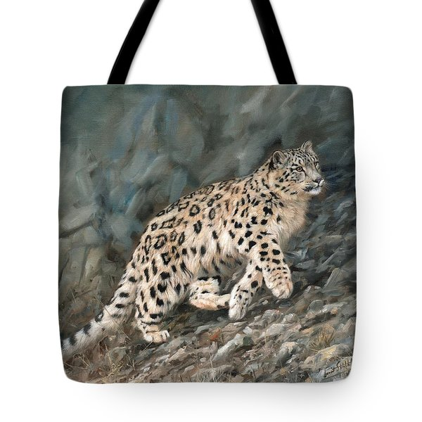 Tote Bag featuring the painting Snow Leopard by David Stribbling