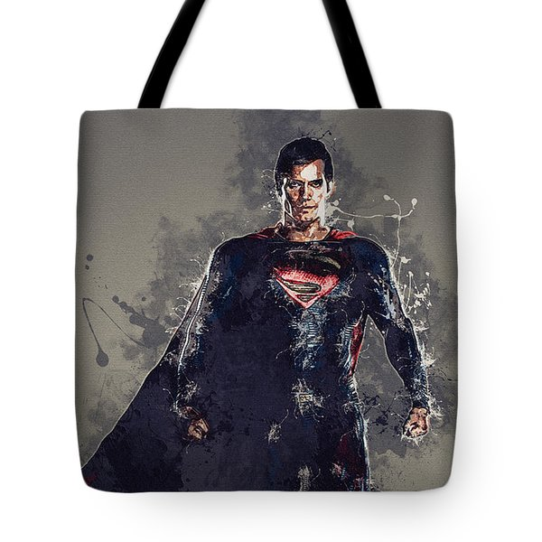 Superman Tote Bag by Elena Kosvincheva