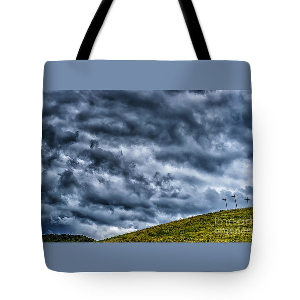 Three Crosses On Hill Tote Bag