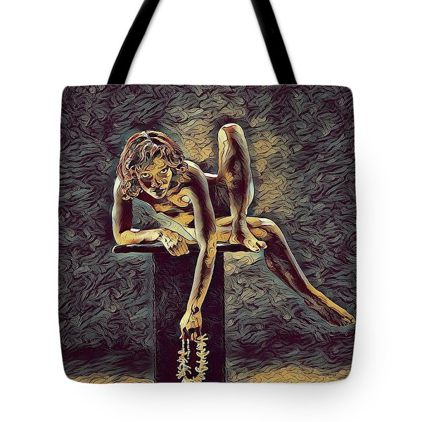 1003s-zac Necklace Of Bones Held By Beautiful Nude Dancer Tote Bag