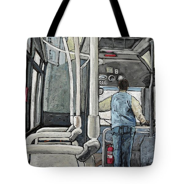 107 Bus On A Rainy Day Tote Bag